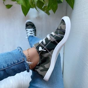 Camouflage Flat Lace Sneakers Tennis